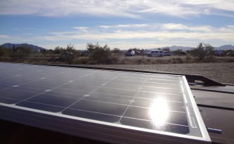 100 watt solar panel installed on La Vanne's roof