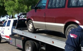 van being towed